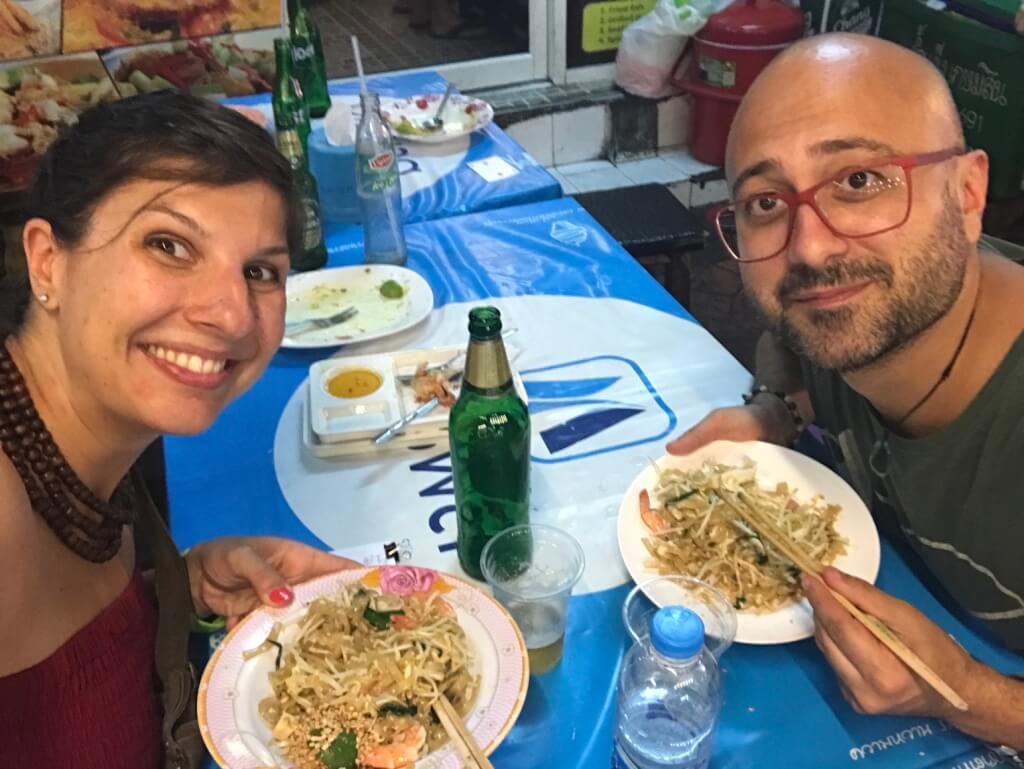 eating at a local restaurant on Kao San Road, Bangkok